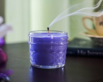 Lavender Scented Candle - Spring Candles - Container Candle - Soy Wax Candle - Ball Jar Candle - Hand Poured Candles - Purple Candle