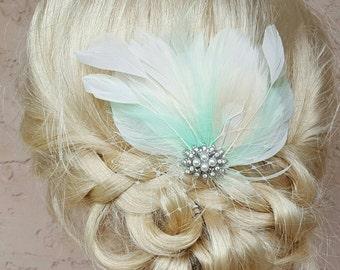Ivory bridal fascinator, wedding hair accessories, Pearl Rhinestone Brooch, French Netting, Bridal Hair Clip Mint, mint green, bridal comb