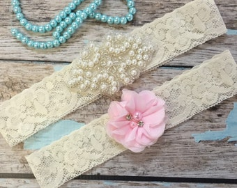 Wedding garter / Lace garter SET / bridal  garter / vintage lace garter / toss garter / wedding garter / pearl garter / wedding garter toss