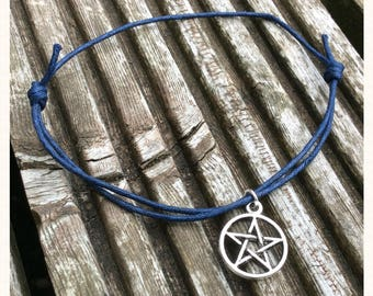 Navy Blue Cord Pentacle Charm Anklet