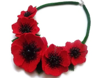 Red poppies necklace Flowers necklace Red green necklace Red flowers Folk style Flowers rope necklace Gift for her Elegant necklace