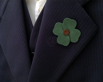 Green cloverleaf lapel pin, mens fashion accessory, men's gift ideas.