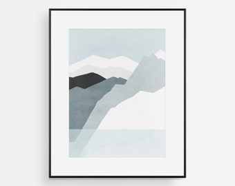 Minimalist Wall Art, Abstract Mountain Print, Scandinavian Modern Print, Mountain Art, Gift for Men, Mid Century, Winter Landscape, Iceland