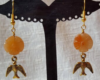 Carved Orange-Peach Aventureen Flower and Gold Bird Earrings