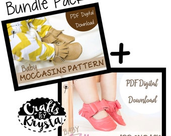 SPECIAL OFFER! Bundle Pack- Leather Moccasin Sewing Pattern - Baby Shoe Pattern - Bow Moccasin - Instant pdf digital download