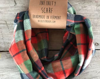 Adventure Orange Navy Blue Green and Cream Plaid Flannel Infinity Scarf - Plaid - Flannel - Oversized - Warm - Winter- Cozy - Unisex - Gray