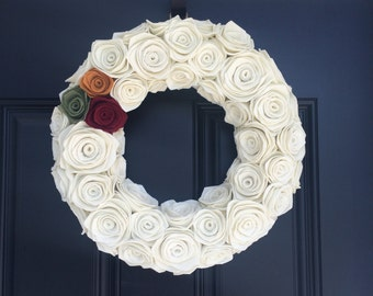 Handmade Felt Rosette Wreath. Felt Wreath.Door Hanging. Wall Hanging.Christmas Wreath. Fall Wreath.Fall Decor