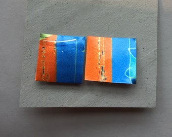 Hand made, hand printed, Sustainable Earrings.