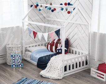 Children bed Toddler bed House bed Kids teepee Wood house Baby bed Montessori toys Tent bed Children bedroom bed house Nursery bed kids gift