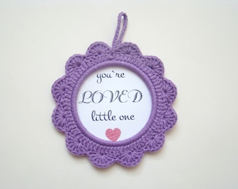 Purple crochet photo frame nursery decor baby shower favors baby shower gifts baby gender announcement ideas pregnancy announcement wall