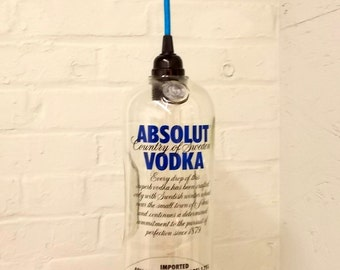 Upcycled Repurposed  Hanging Pendant Absolut Lamp color fabric cord swag light Recycled Glass