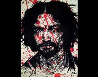 "Print 11x17"" - Charles Manson - Serial Killer Dark Art True Crime Horror Blood Death Murder Helter Skelter Cult Gothic Halloween Pop Beard"