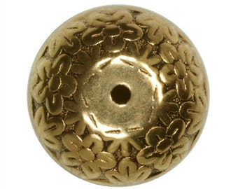 Metalized Beads Rondelle Flower Antique Gold Coated Plastic Beads 20x15mm - 4 Beads Per Pack