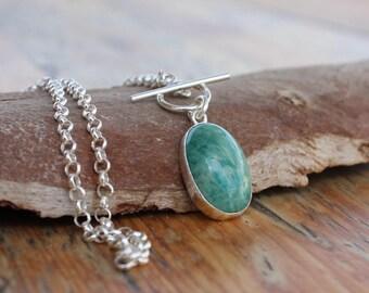 Amazonite necklace,amazonite stone necklace, Amazonite silver pendant, amazonite jewelry, blue amazonite gemstone necklace, silver chain