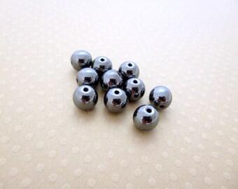 Set of 10 beads Hematite 8 mm - 0740 PSPH8 round