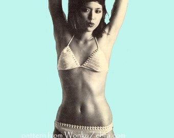 Bobble Trim BIKINI Vintage Crochet Pattern PDF 785 from WonkyZebra