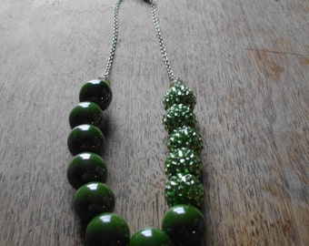 Chartreuse Disco Ball Necklace
