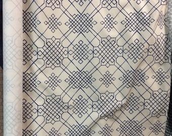 Livingston Celtic indigo linen navy on ivory multipurpose fabric