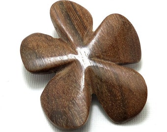 Magkuno Flower Bead, Hand Carved, Focal Bead, Pendant, Natural Wood Beads, 45mm - 50mm, Large, Big, 2pcs - ID 2029-SET2