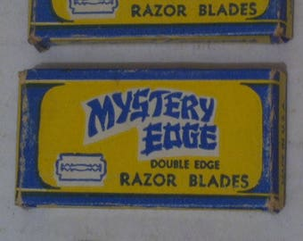 Vintage Lot of 2 Packages of 5-ct Razor Blade Packages, Double Edge, Made in USA, Standard Size Razor Blades, Mystery Edge