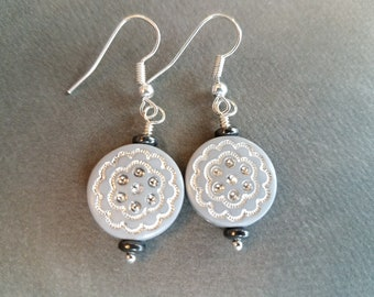 Light Gray Etched Discs . Earrings