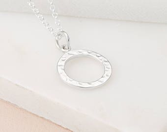 Sterling Silver Circle Necklace, Personalised Open Circle Charm Necklace, Gifts for Her, Personalized Gifts, Sterling Silver Necklace