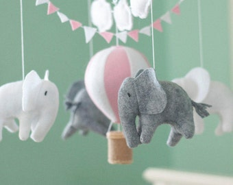 Baby mobile, Elephant mobile, Hot Air Balloon mobile, crib mobile, Balloon Nursery Decor, Pink and white baby room decor, Baby Shower Gift