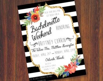 Bachelorette Party Invitation - Bachelorette Party Save the Date - Floral Bachelorette Party Invitation