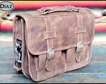 DIAZ Mini Leather Messenger Briefcase / Backpack Laptop Satchel Bag in Texas Light Brown - (11in MacBook Air) - Free Shipping -