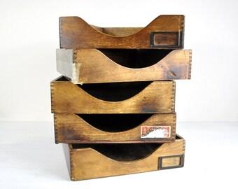 Vintage Wood Desk File Tray / File Box Wood Desk Accessories / Mid Century Office Decor