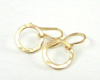 Hammered Gold Earrings   Gold Earrings   14K Gold Filled Earrings   Hammered Gold Circle Earrings   Gold Washer Earrings   Gold Ring Earring