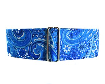 Blue Paisley Martingale Dog Collar, 2 Inch Martingale Collar, Paisley Martingale Collar, Paisley Dog Collar, Blue Dog Collar, Blue Paisley