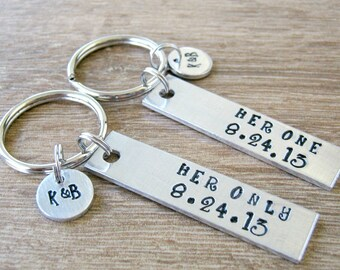 Her One Her Only Keychain Set of 2, Lesbian Couple Keychains, Hers and Hers, Girlfriend Gift, Anniversary date, initial disc, Valentines Day