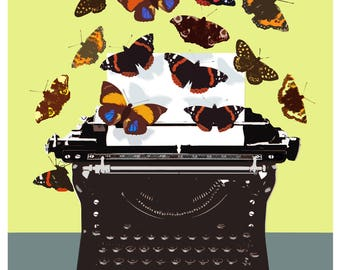 Butterflies and Typewriter Print