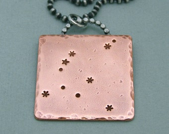 Aquila Constellation Necklace - The Eagle - Hand Stamped Copper and Sterling Silver