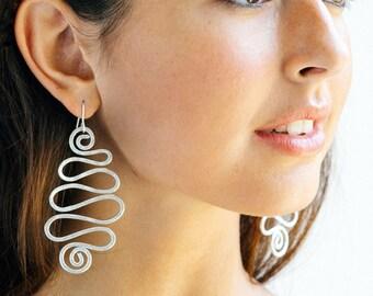 Statement Earrings, Long earrings, Silver earrings, Long dangle earrings, Spiral earrings, Waves shape earrings, Lightweight earrings, Charm