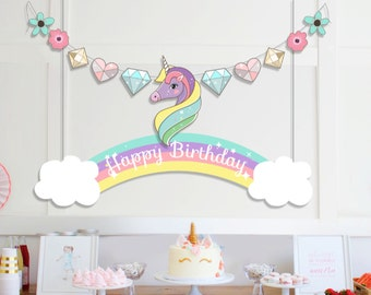 INSTANT DOWNLOAD - Printable Unicorn and Rainbow Garland   Unicorn and Rainbow Banner   Happy Birthday Banner