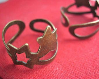 Set of 10 blank Adjustable ring in bronze (X 104)