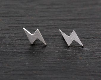 Sterling Silver Cute Little Lightening Bolt Stud Earrings,  Fun and Quirky, Textured Finish H20