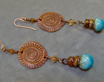 Ceramic Raku and Copper Ammonite Disc Earrings-Organic Earrings-Artisan Earrings-Artisan Jewelry-Dangle Earrings-SRAJD-Artisan Ceramic Beads