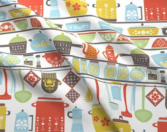 Kitchen Fabric - Vintage Kitchen By Gnoppoletta - Kitchen Decor Mod Cotton Fabric By The Yard With Spoonflower