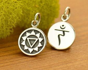 Sterling Silver Etched Solar Plexus Chakra Charm,Sanskrit Charm,Yoga Charm,Yoga Spirit, Solar Plexus,Chakra Channeling,7 Chakras,Yoga