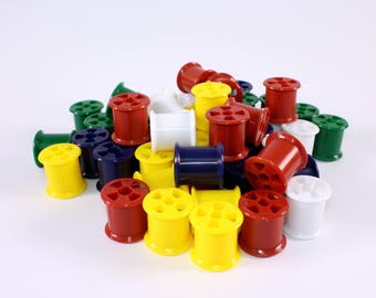 Plastic Coloured Empty Cotton Reels Spools for Kids Crafts & Modelling Materials