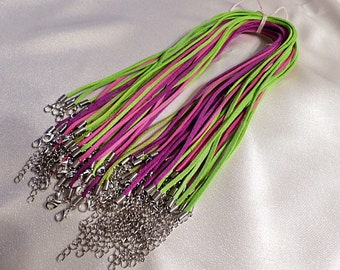 "38 FaUx SuEdE NeCkLaCe CoRdS - Bright Colors - 18"" Long With Adjustable Chain"