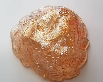 Vintage Marigold Orange Carnival Glass Candy Dish