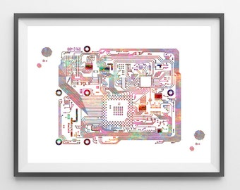 Circuit board watercolor print computer science art electronic motherboard with chips poster science art giclee print wall decor gift [913]