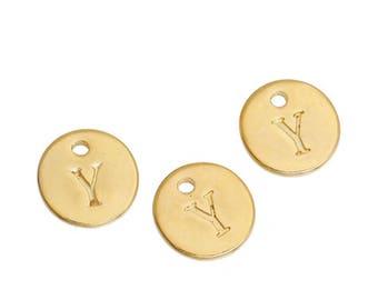 Letter Y - 12mm pendant gold gilt