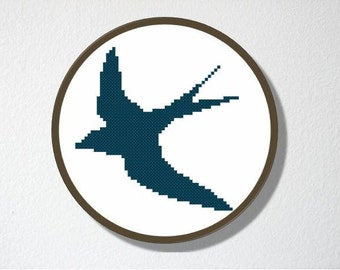Counted Cross stitch Pattern PDF. Instant download. Swallow Silhouette. Includes easy beginner instructions.
