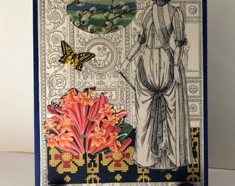 Neo Victorian Antique Paper collage on Wood SPRING Woman Architecture Fauna and Flora