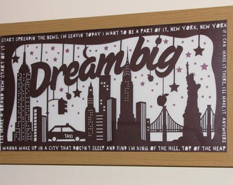 Papercut Template 'Dream Big' New York Themed Printable PDF JPEG for handcutting & SVG file for Silhouette Cameo or Cricut